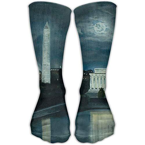 Dc Mens Dress (Dress rei Women's Men's Classics Socks Washington DC Under Moonlight Athletic Stockings 30cm Long Sock One Size)