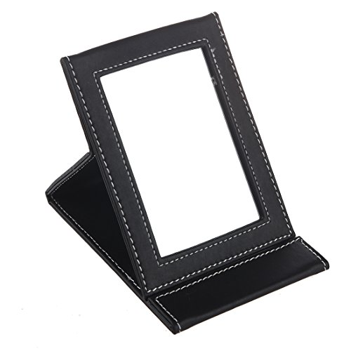 Miroir - TOOGOO(R)Maquillage Miroir Voyage Cuir Pliable Portable Miroir Noir