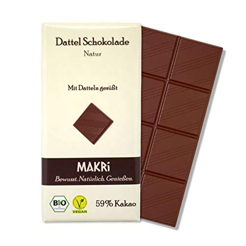 MARKi Dattel Schokolade - Natur 59% Kakao | Vegane Schokolade mit Datteln gesüßt | Ohne raffinierten Zucker | Laktosefrei | Bio Halbbitter (1x 85g)