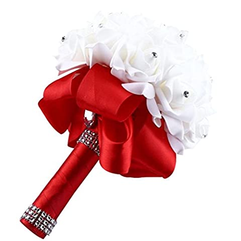Covermason Bride Bouquet, Crystal Roses Bridesmaid Wedding Artificial Silk Flowers Home Decor (Red)