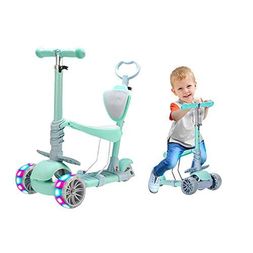 Baobë 5 in 1 Kids Kick Scooter, Verstellbarer Scooter für Kleinkinder von 1-6 Jahren Jungen und Mädchen tragen 50 kg (Grün)