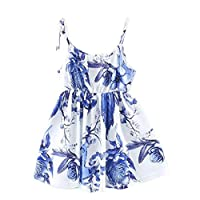 EULLA Girl Spaghetti Floral Dress Cotton Casual Above Knee Summer for Age Baby 0-4 Years