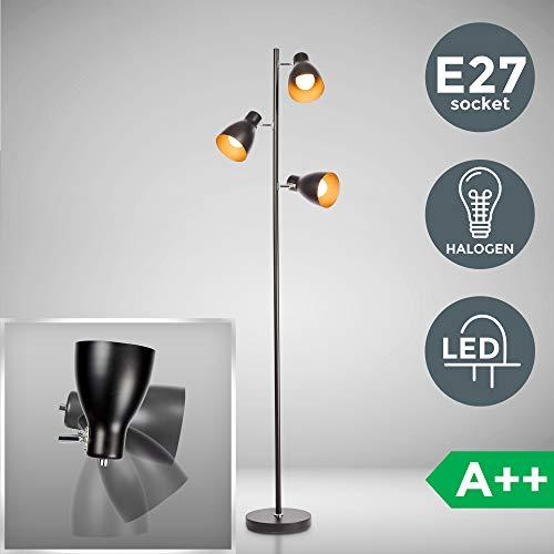 Stehleuchte | schwarz gold | LED Halogen E27 | Metall | Retro Standlampe | Stehlampe | Moderne Standleuchte | Deckenfluter | schwenkbar