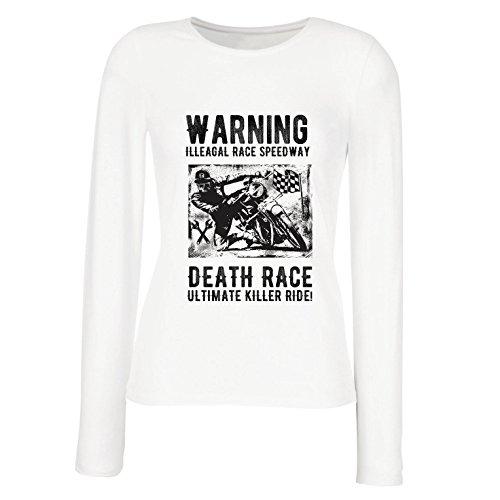 Weibliche Langen Ärmeln T-Shirt Todesrennen - ultimative Killerfahrt, Motorradrennen, Klassiker, Vintage, Retro-Schädel-Biker, Motorrad (Medium Weiß Mehrfarben)