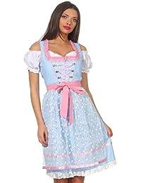 Bavarian Clothes ABVERKAUF/Sale Dirndl Damen Trachtenkleid Kleid 3 TLG. mit Dirndlbluse Schürze geblümt Gr: 34-54 in rot schwarz Gold türkis blau pink violett grün grau rosa Wiesn Midi Oktoberfest