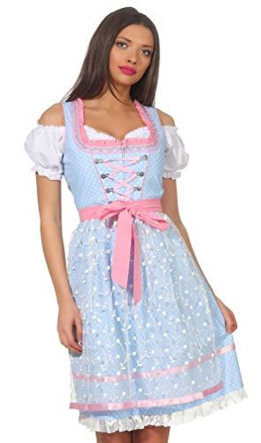 Bavarian Clothes Dirndl Damen Hellblau Rosa 3 teiliges Set \'6000\' Midi Dirndl mit Weißer Dirndlbluse und Spitzen-Dirndlschürze (Größe 42)