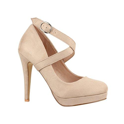Elara Damen Pumps | Bequeme Riemchen High Heels | Stiletto Schuhe | Abendschuh Trendy | Chunkyrayan E22351 Beige-41