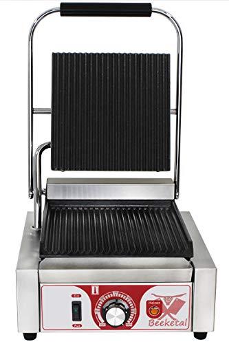 Beeketal 'BKG1' Gastro Kontaktgrill mit Gusseisen Grillpatten (oben und unten gerillt) mit Fettauffangschale, Profi Edelstahl Elektrogrill ideal als Panini Grill Maker oder Sandwich Toaster