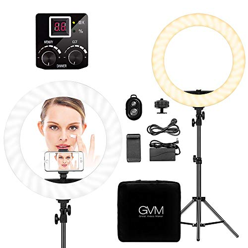 GVM LED Ringlicht Kit,18-Zoll 55W 3200K-5500K CRI97 254 LED ringleuchte mit Stand für Studio Fotografie für YouTube Portrait Camera Photo Makeup Ring Light - Fotografie Studio Portrait