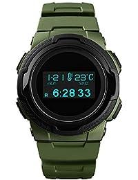 WSJ Reloj Deportivo, brújula, termómetro al Aire Libre, Contador de Pasos, Aventura de montaña Impermeable Reloj electrónico Luminoso,…