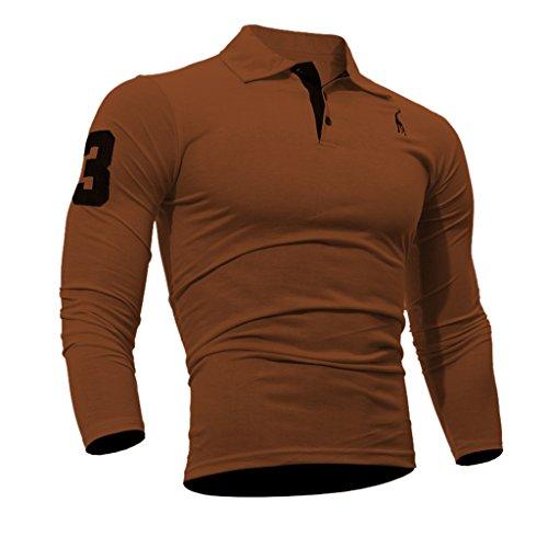 WSLCN Herren Langarm Polo Shirt Slim Fit Braun