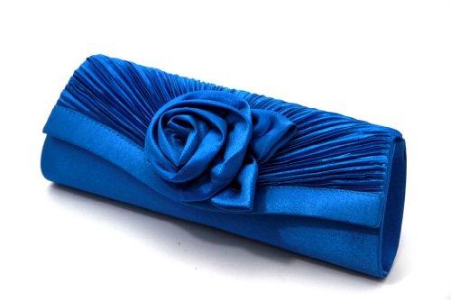 Damen Handtasche CLUTCH mit exquisiter Blumenverzierung - Aus edlem Satin und Samt - Im klassischen Blau - Magnetverschluss