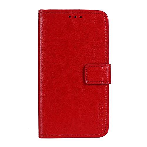 COVO® TP-Link Neffos N1 Brieftasche Hülle PU+TPU Kunstleder Handyfall für TP-Link Neffos N1 mit Stand Funktion Ein Stent-Funktion (Rot)