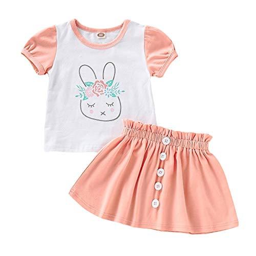 BeautyTop Toddler Kinder Karikatur Drucken Bekleidung Babykleidung Sommer, Baby Mädchen Outfits Kleidung Kurzarm Kaninchen T-Shirt Tops + Einfarbig Rock Set 2 Stück