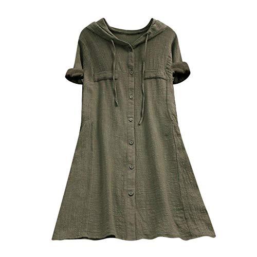 V-Ausschnit Langarm Shirt Leinen Einfarbig Lässige Lose Tunika Tops T-Shirt Hemdbluse Große Größen (EU-48/CN-4XL, 01-Armeegrün) ()