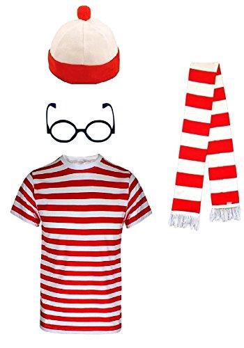 Kinder Mädchen Jungen Wheres die Nerd Rot und Weiß Gestreift Welt Buch Tag 4 Stück Kostüm (Nerds T-shirt Mädchen)