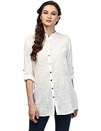 Ritu Kumar Women's Cotton Regular Fit Shirts(SHRCSLUB00N15702506__Off White)
