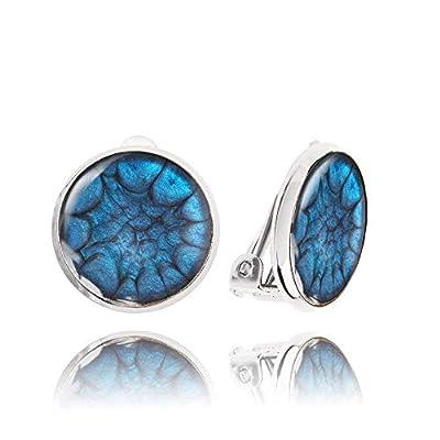 Style Classique Petites Boucle d'Oreilles Clips non Percées de couleur Bleu Marine; Cadeau Surprise Noël pour Femme; Diamètre 1.4cm