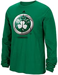 "Boston Celtics Adidas NBA ""Logo Ball"" Premium Print L/S Men's T-Shirt Chemise"