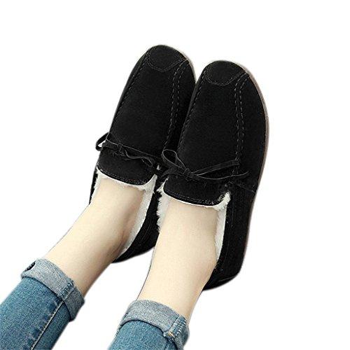 ALUK- Version coréenne plus chaussures velours chauds bottes de neige chaussures paresseuses ( couleur : Kaki , taille : 37 ) Noir