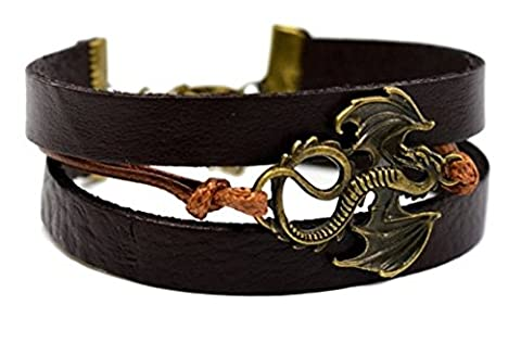 Buy ANY 2 & get 1 FREE! 18cm Brown Bronze Dragon Adjustable Multilayered Leather Bracelet - Game of Thrones Antique Bracelet Retro Style Ancient Dragon Leather Strap Bracelet Brooch Pin Badge John Snow GOT Dragon Steampunk Song Ice Fire Lapel And Metal Stark Silver Replica Unique Fashion Jewellery Silver or Gold Double Vintage Hot Fashion Trend - Bronze Dragon Adjustable Multilayered Leather Bracelet - (Genuine Leather Dragon Bracelet)