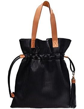 Douguyan Fashion Kunstleder Klein Einkaufstasche Uni Shoppen Tasche Damen Mädchen Frauen Handtasche Umhängetasche...