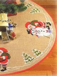 Père Noël et bonhomme de neige arbre jupe Kit broderie pour point de croix Motif