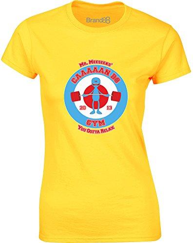 Brand88 - Meeseeks�?Caaan Do Gym, Gedruckt Frauen T-Shirt Gänseblümchen-Gelb