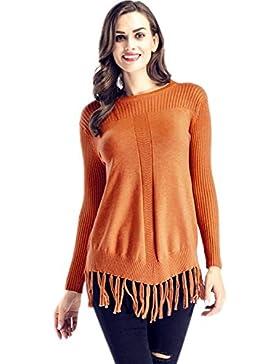 Manga Larga Detalle de Borlas de canalé Pullover Suéter Jersey Sweater Jumper Top