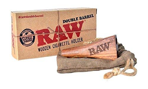 Raw von Lizzy® Double Barrel Zigarette Halter Holz + Bag Tasche -