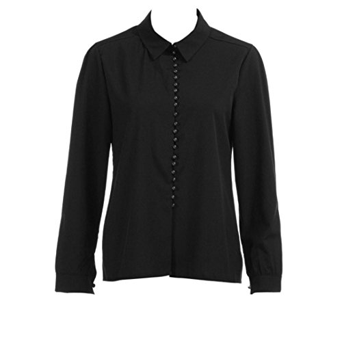 DAYSEVENTH Women Casual Solid Satin Clothes Long Sleeves Button Blouse Office Ladies Business Lapel Shirt