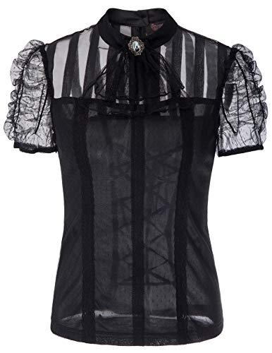 Viktorianische Spitze Steampunk Shirt mit Jabot Ausschnitt Schwarz Größe XXL