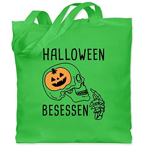 Shirtracer Halloween - Halloween Besessen Totenkopf Kostüm - Unisize - Hellgrün - WM101 - Stoffbeutel aus Baumwolle Jutebeutel lange - Aktuelle Event Kostüme Ideen