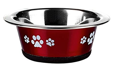 Classic Pet Products Classic Posh Paws Cat Dish, 240 ml, Red
