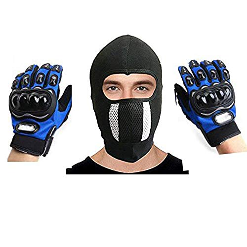 EraaUnisex's Cotton Leather MotorCycle Gloves With Cotton Cycling Anti-Dust Full Face Mask With FilterRed/BlackFree Size