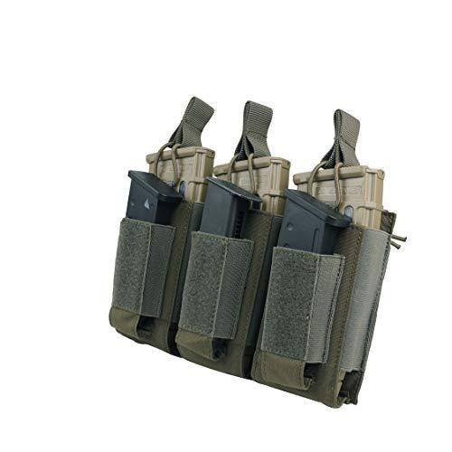 EXCELLENT ELITE SPANKER Open Top Single/Double/Triple Mag Pouch für M4 M16 AK AR Magazine und Pistol Mag Pouch(Triple-Olivgrün)