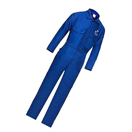FLAMEER Arbeitskleidung Set Schutzanzug Overall Arbeitsuniform Staubdicht Überanzug mit Vorder Reißverschluss atmungsaktiv - XL