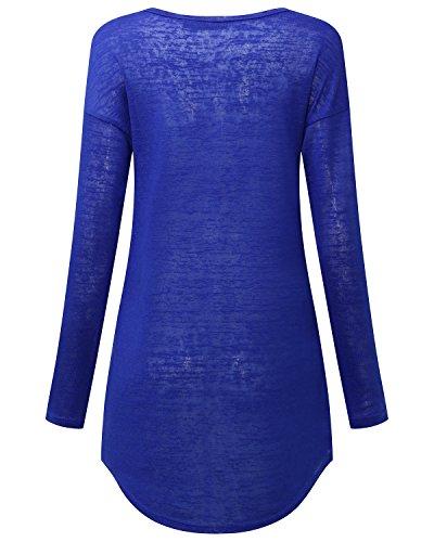 StyleDome Donna Canotta Camicetta Autunno Maglietta Manica Lunga Blusa Sexy Girocollo Tops Ufficio Blu