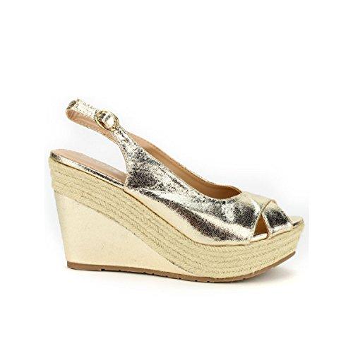 Cendriyon, Compensée Dorée STAR MISS Chaussures Femme Doré