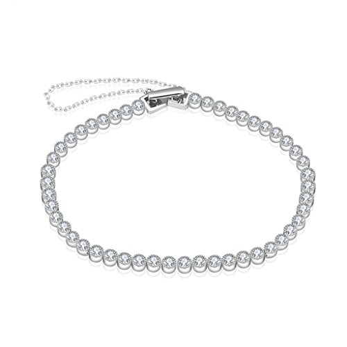 AieniD Joyas de Moda Mujer de Plata Pulseras S925 Plata de Ley Tenis Cadena Redonda Blanco CZ Brazalete Longitud