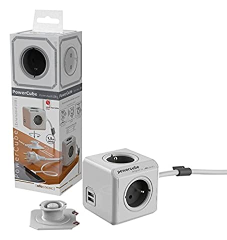 Allocacoc 1407/DEEUPC PowerCube DuoUSB Extended DE 3m, 4x Verteiler, 230V Schuko