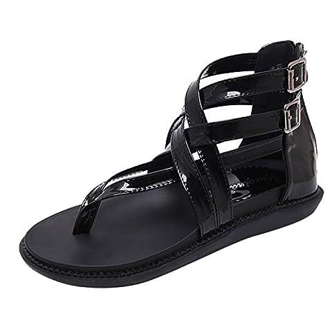 Oasap Women's Open Toe Buckle Flat Thong Gladiator Sandals, Black EURO35/US4/UK2
