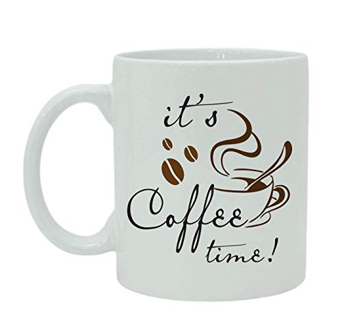 TK.DILIGARM It's Coffee Time Printed Quote White Ceramic Cup with Box