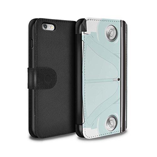 Stuff4PU Leder Case/Cover/Wallet für Apple iPhone 6S/Retro Beetle Collection hellorange Weiß (Arctic White)