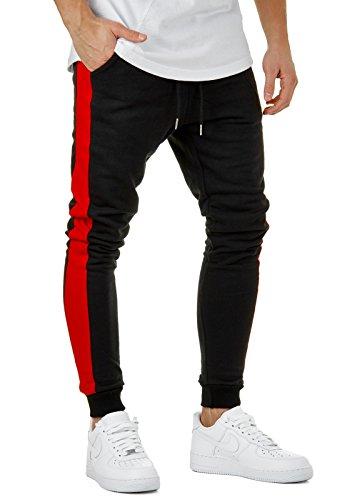 EightyFive Herren Jogging-Hose Stripe Pants Slim Fit Sweatpants Streifen EFJ6667, Hosengröße:XL, Farbe:Schwarz/Rot