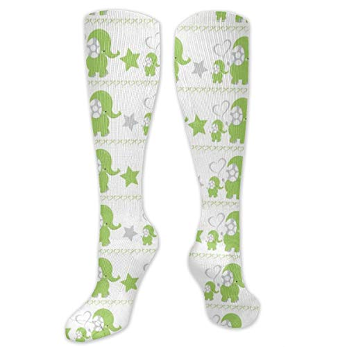 Sport Compression Socks,Dreamy Green Elephant 07 Athletic Socks,Long Tube Stockings 50cm/19.7 In -