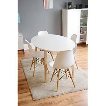 MY-Furniture TRETTON Weisser runder Esstisch: Amazon.de: Küche ...