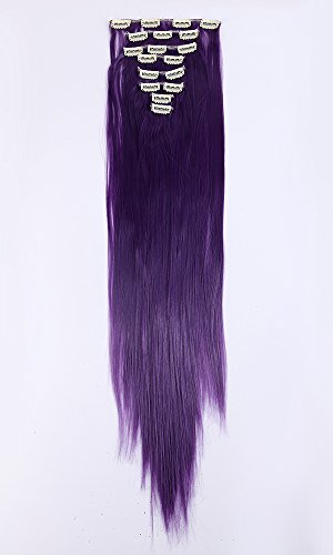 S-NOILITE® Stylische 66 cm (66 cm) Full Head Clip in Hair Extensions 8 Stück 18 Clips direkt schwarz violett (Lila Clip In Hair Extensions)
