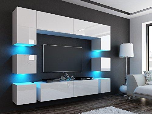 Wohnwand R Weiß Hochglanz ✔ Edel ✔Gute Qualität✔ LED Beleuchtung ✔ Modern ✔ Design✔ mit Kommode ✔ Sideboard