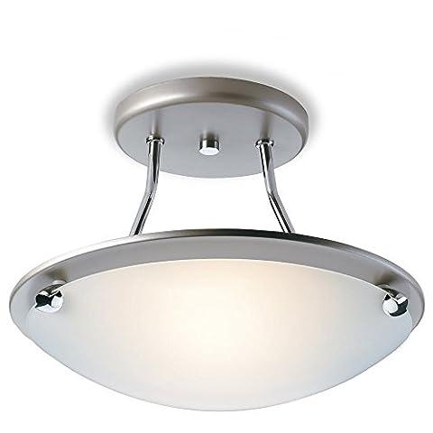 Modern Satin Steel semi flush light, 1 Bulb, Kitchen, Utility Room, Frosted Glass Dish (Champagne Semi Flush Fitting), FLS300SSI4L | ideas4lighting